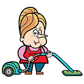 Carpet clipart vacuum Cleaner with Cartoon Housewife Royalty