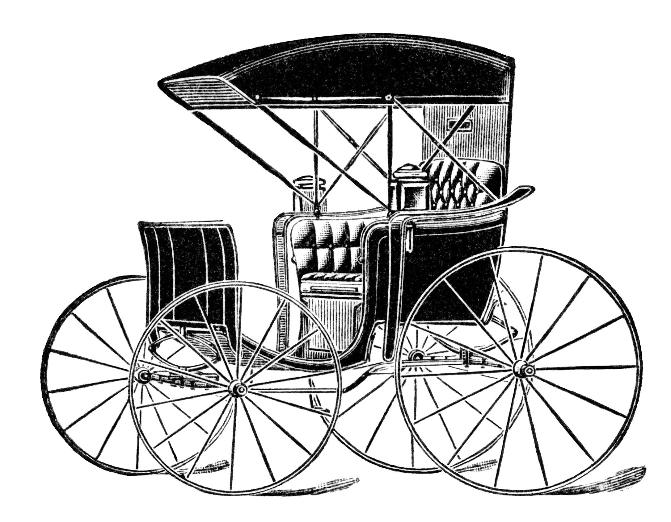 Drawn vehicle nice car Drawn carriage black white white