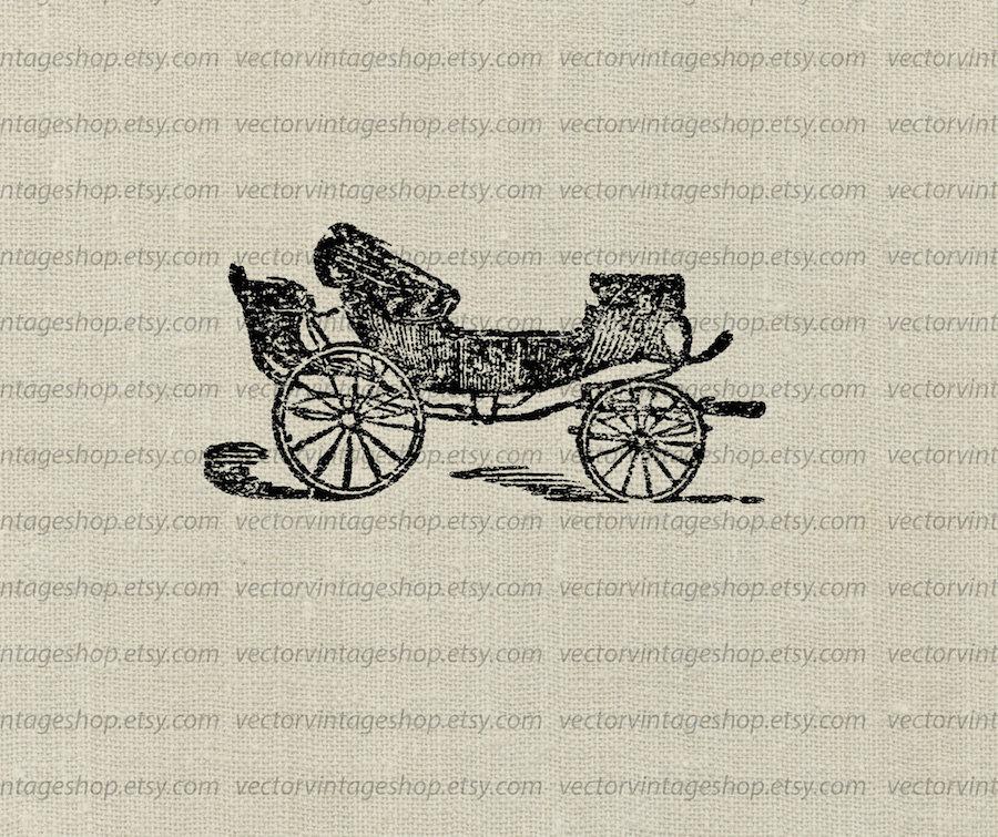 Carriage clipart antique shop Britzska Instant digital Horse Download