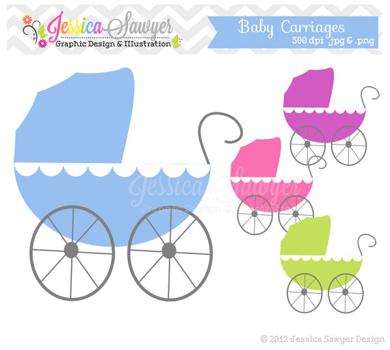 Carriage clipart baby shower On INSTANT card clipart Baby