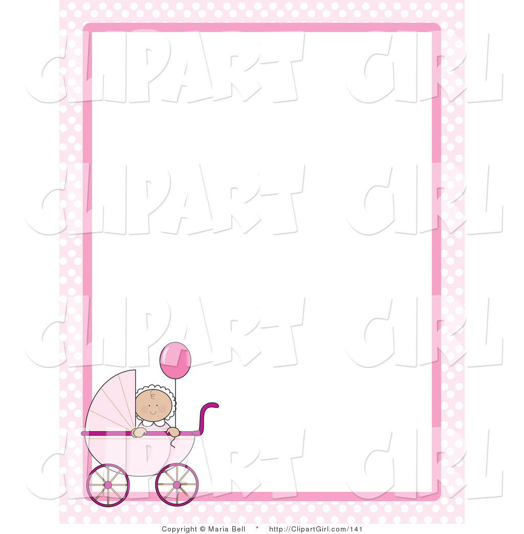 Carriage clipart frame Little a Pink  Caucasian