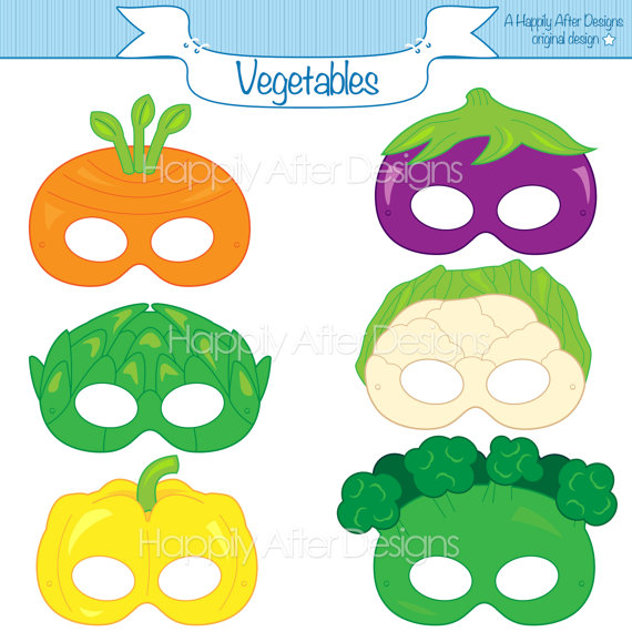 Carrot clipart art and craft Mask printable artichoke broccoli mask