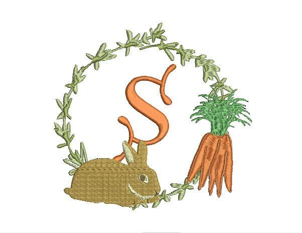 Carrot clipart frame For Monogram design Embroidery File