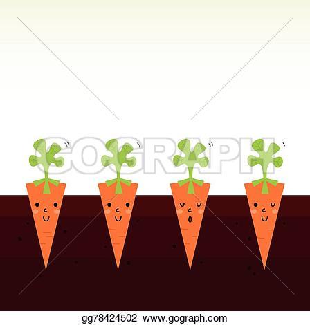 Carrot clipart row Vector cartoon characters row beautiful
