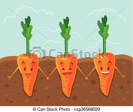 Carrot clipart underground Flat Vector  Vector grown