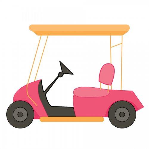 Cart clipart art Pink  Golf Art Free
