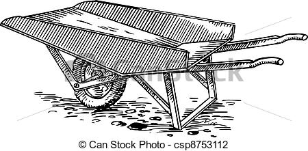 Cart clipart black and white On ground Images illustrations Clipartby