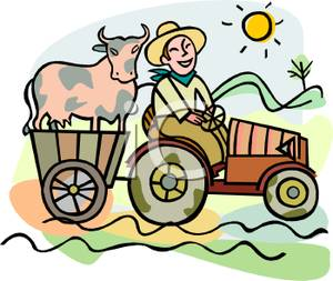 Cart clipart cow Farmer Tractor Free Cart on