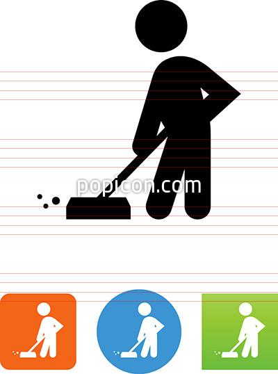 Cart clipart custodial Popicon Custodian Illustration Custodian Icon;