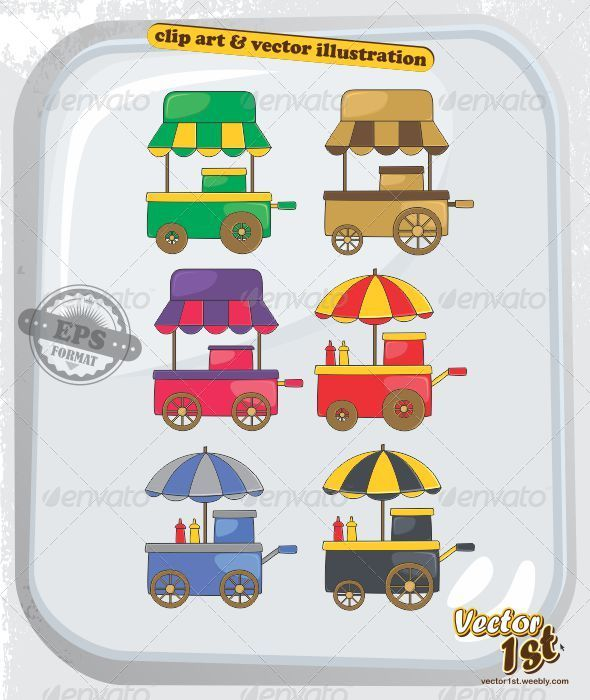 Cart clipart food booth Set and Vendor Food