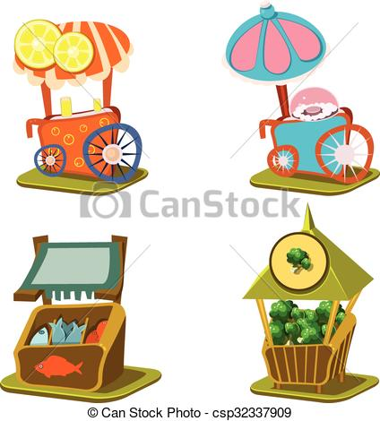 Cart clipart food stall Vector Food Street and