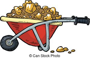 Cart clipart gold mine Vector is on of white