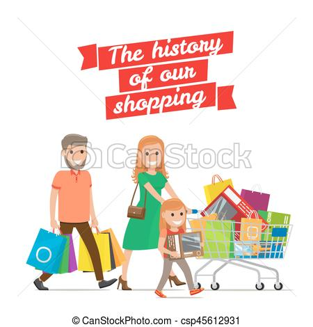 Cart clipart history History Set Shopping Cart Family