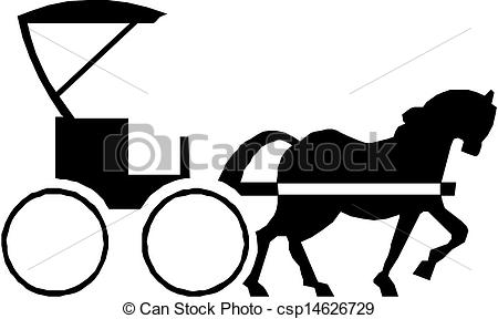 Cart clipart horse vehicle Vector csp14626729 Black carriage with