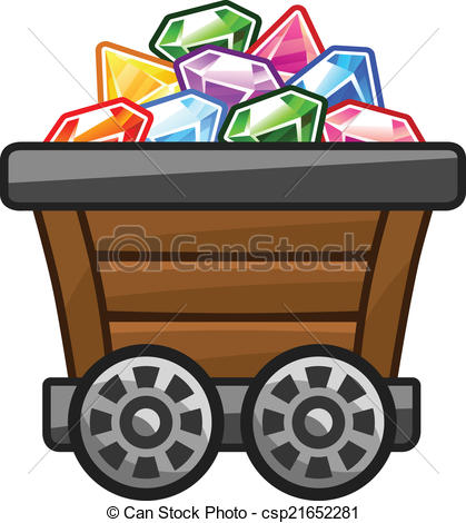 Cart clipart mine cart Diamonds of Vector csp21652281 Mine