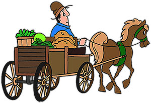 Cart clipart pulled Cart wagon art pulling Horse