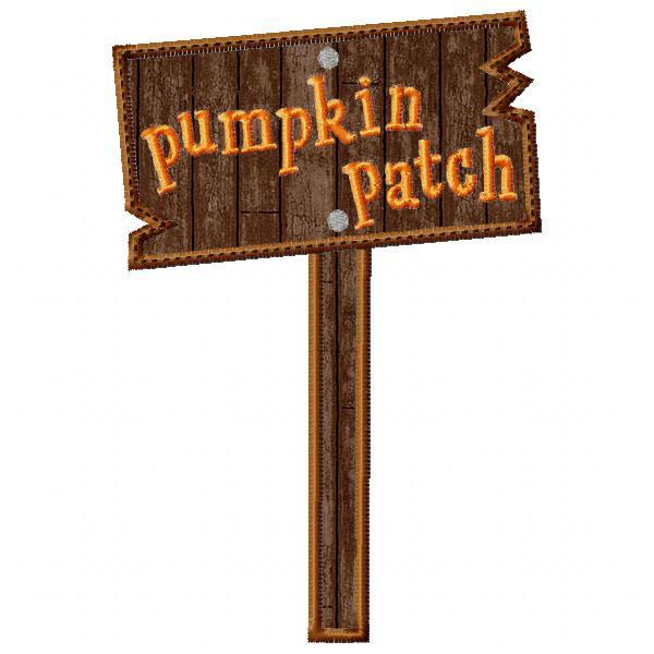 Cart clipart pumpkin picking Pumpkin Sign  Applique Patch