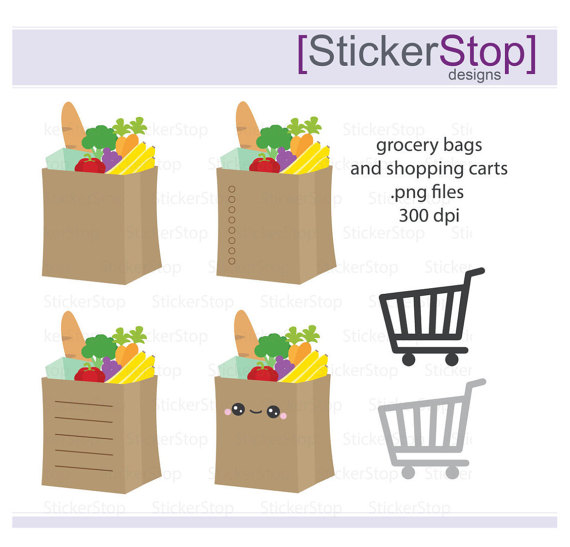 Cart clipart shopping bag Grocery Digital Clipart Groceries download