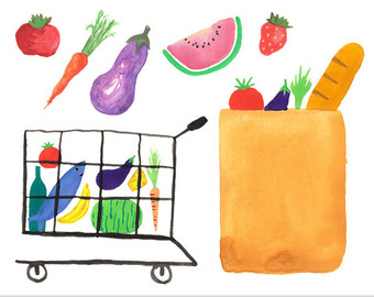 Cart clipart shopping bag Vegetables Clipart bag Bag Grocery