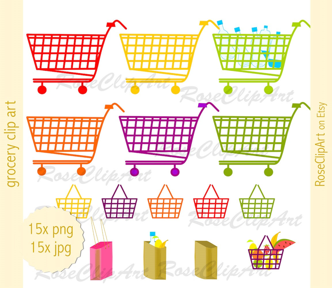 Bag clipart grocery basket Digital This instant clip grocery