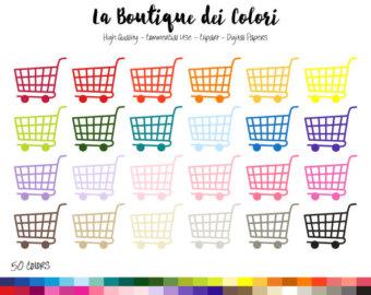 Cart clipart trolly Clip Shopping art Rainbow art