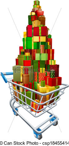 Cart clipart trolly Full trolley of present csp18455414