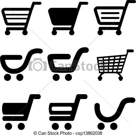 Trolley clipart icon Trolley black shopping black simple
