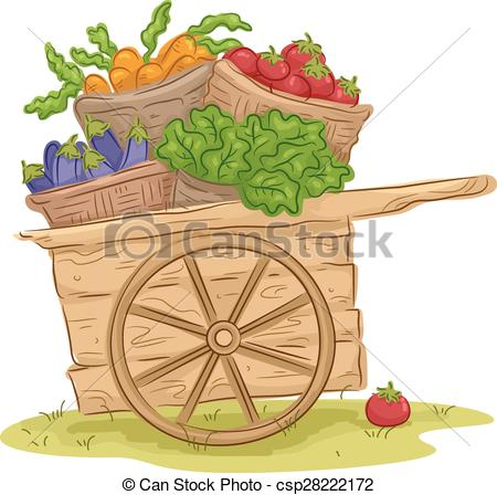 Cart clipart wooden cart Wooden Vegetable of with cart