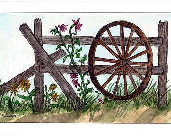 Cart clipart wooden cart Painting Original Watercolor Etsy Wooden