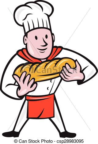 Cartoon clipart baker Isolated Holding Bread Loaf Holding
