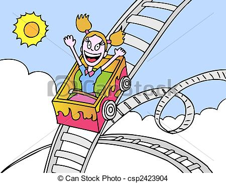 Cartoon clipart roller coaster Vector girl hand  image