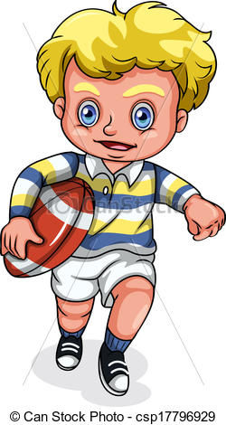 Cartoon clipart rugby Football young boy playing A