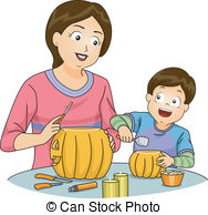 Carvings clipart kid Of Illustration Boy Pumpkin of
