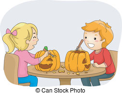 Carvings clipart kid Kids of A Pumpkin illustration