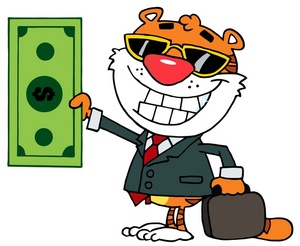 Cash clipart billing A_beaming_tiger_holding_a_large_dollar_bill_0521 Tiny 2913 1001 Bill