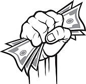 Cash clipart hand holding Hand in hand Cash Vector