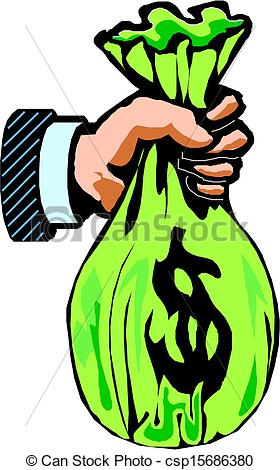 Cash clipart hand holding Vector money hand with of