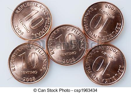 Money clipart philippine Philippine coins white on Stock