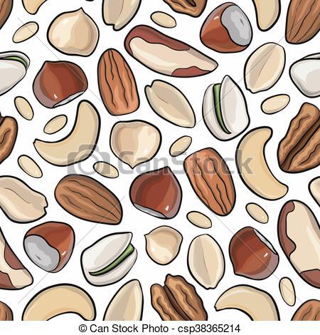 Cashew clipart walnut Drawn pattern nut peanuts hazelnut