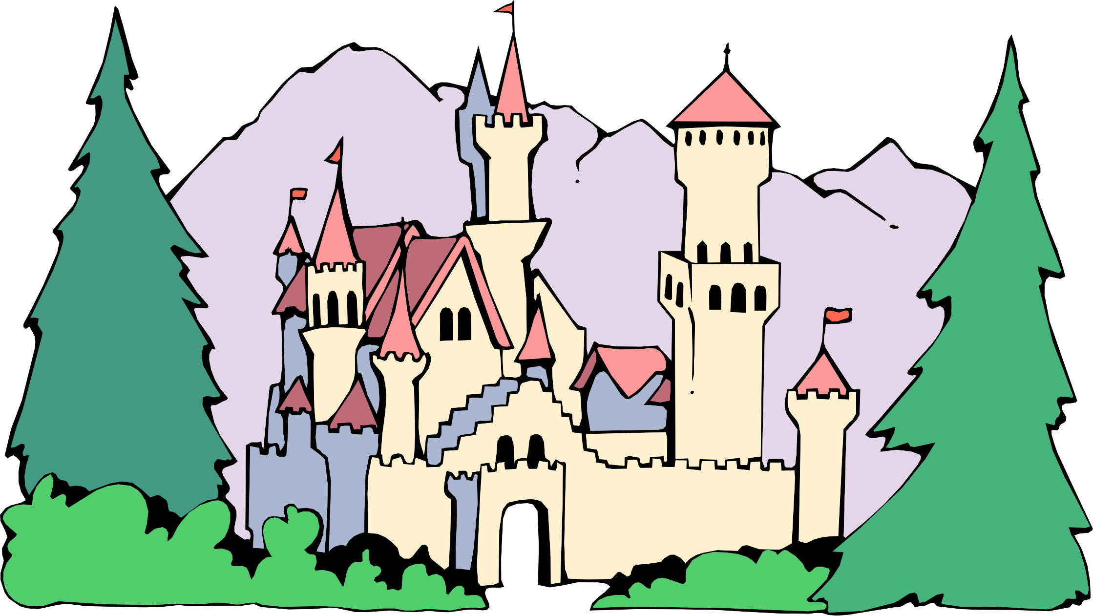 Castle clipart pink purple Cartoon Castle castle forest Once