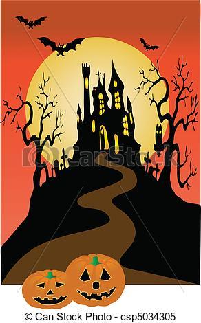 Castle clipart dark castle Of halloween halloween  Vector