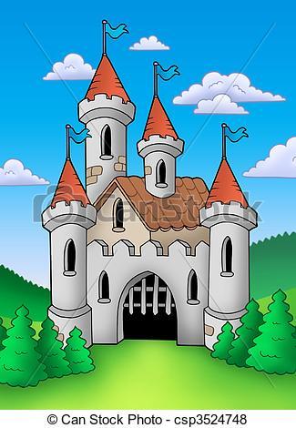 Castle clipart landscape Old in color Illustration landscape