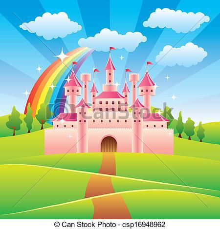 Castle clipart landscape Fairy castle illustration Art illustration