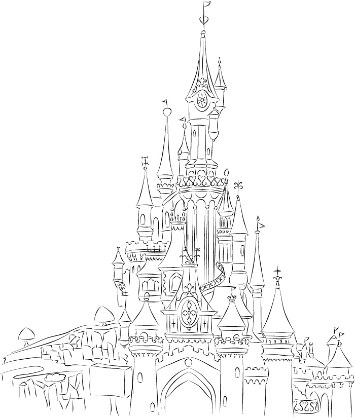 Drawn castle line drawing #15