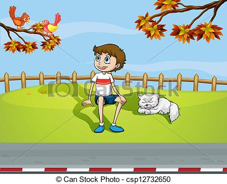 Cat clipart boy Sleeping smiling and boy