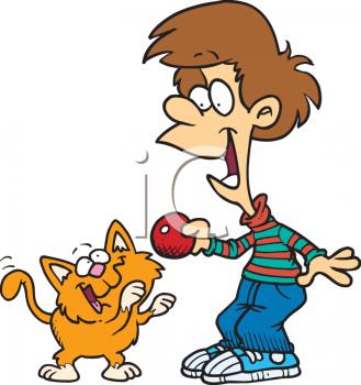 Cat clipart boy Cartoon Playing Out Ball a