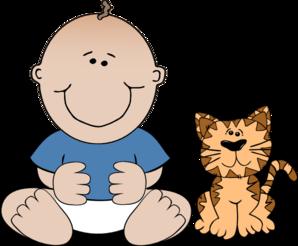 Cat clipart boy Boy With clip vector Art