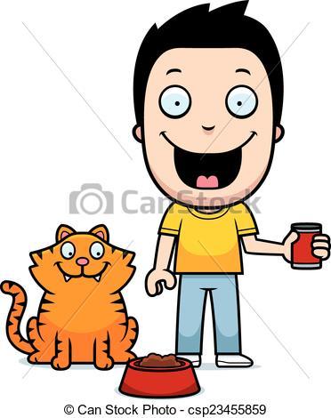Cat clipart boy Cat feeding cat Boy feeding