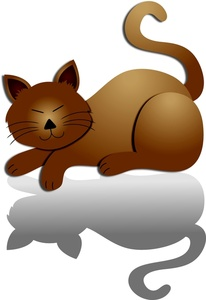 Cat clipart brown Drop shadow kitty brown Clipart