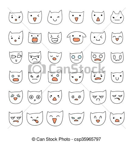 Cat clipart emoji  set 36 cats Emotions